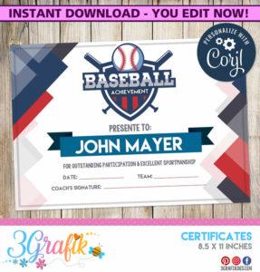 Blue Baseball Certificate with regard to Editable Baseball Award Certificates