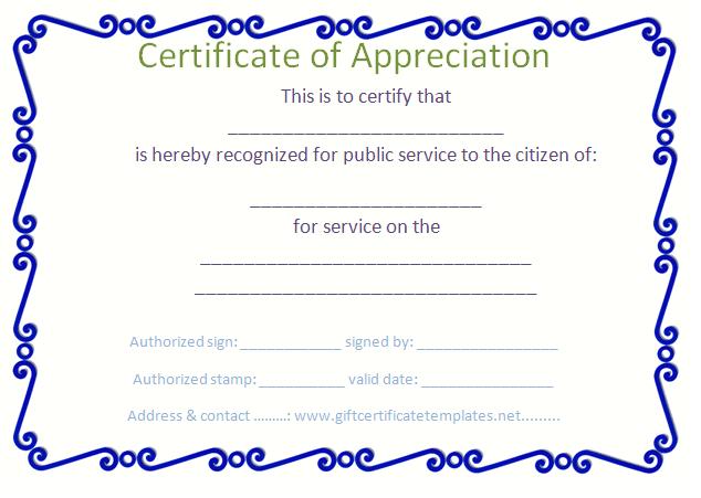 Blue Border Certificate Of Appreciation Template inside Fresh Tattoo Certificates Top 7 Cool Free Templates