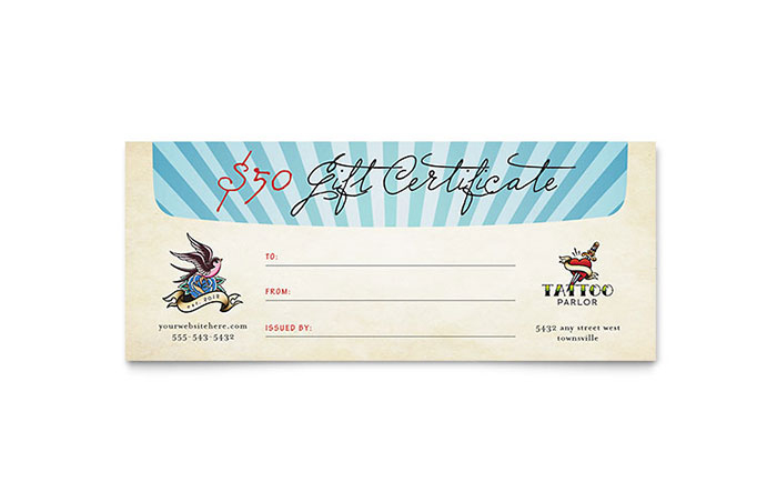 Body Art & Tattoo Artist Gift Certificate Template Design in Tattoo Gift Certificate Template