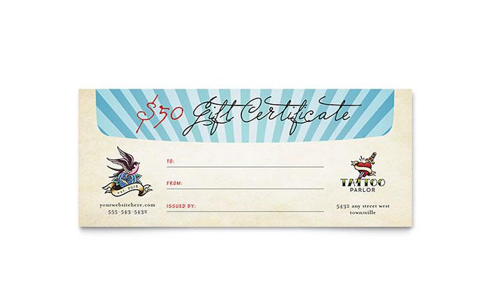 Body Art & Tattoo Artist Gift Certificate Template Design inside Fresh Tattoo Certificates Top 7 Cool Free Templates