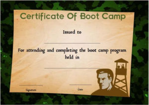 Boot Camp Certificate Camouflage | Certificate Templates with regard to Fresh Boot Camp Certificate Template
