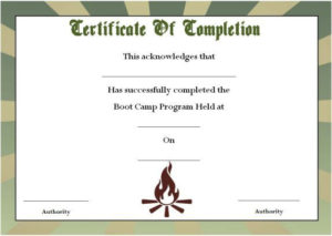 Boot Camp Certificate Of Completion | Certificate Templates in Fresh Boot Camp Certificate Template