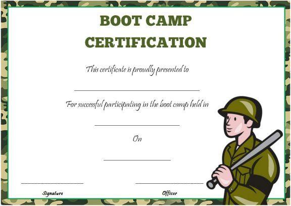 Boot Camp Certificate Template | Certificate Templates with Boot Camp Certificate Template