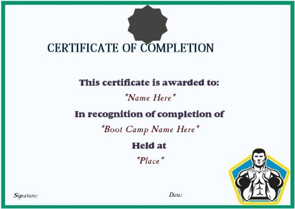 Boot Camp Completion Certificate | Certificate Templates intended for Boot Camp Certificate Template