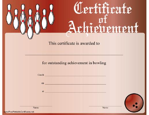 Bowling Achievement Certificate Printable Certificate inside Bowling Certificate Template