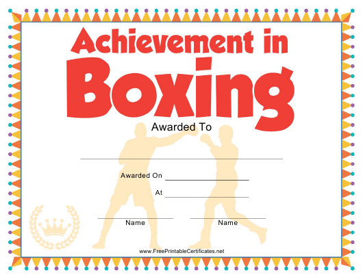 Boxing Certificate Of Achievement Template Download with regard to Boxing Certificate Template