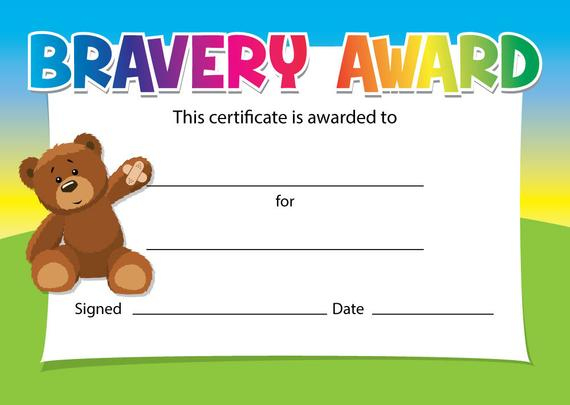 Bravery Award Certificates - Choice Of Designs - For Schools, Dentists,  Doctors, Nurses - Pack Of 16 throughout Bravery Award Certificate Templates