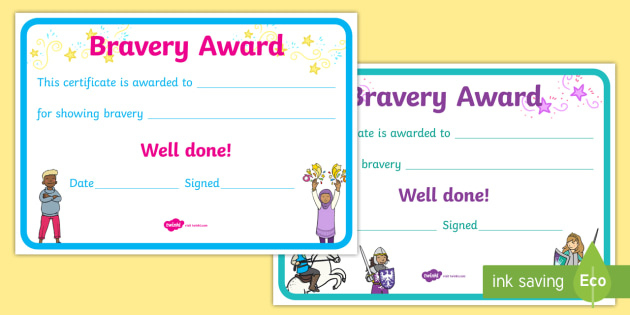 Bravery Certificate (Teacher Made) for New Bravery Certificate Templates