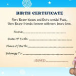 Build A Bear Birth Certificate   Birth Certificate Template intended for Unique Build A Bear Birth Certificate Template