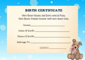Build A Bear Birth Certificate | Birth Certificate Template pertaining to New Amazing Teddy Bear Birth Certificate Templates Free