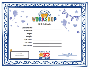 Build A Bear Birth Certificate Template (1) – Templates for Build A Bear Birth Certificate Template