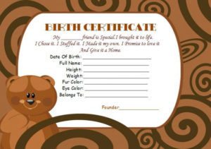 Build A Bear Certificate Template: 15 Attractive intended for Amazing Teddy Bear Birth Certificate Templates Free