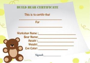 Build A Bear Certificate Template | Birth Certificate for Unique Build A Bear Birth Certificate Template