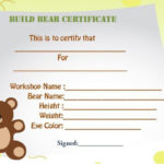 Build A Bear Certificate Template | Birth Certificate Throughout New Amazing Teddy Bear Birth Certificate Templates Free