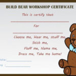 Build Bear Workshop Certificate | Birth Certificate Template Pertaining To Amazing Teddy Bear Birth Certificate Templates Free