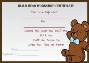 Build Bear Workshop Certificate | Birth Certificate Template regarding Build A Bear Birth Certificate Template