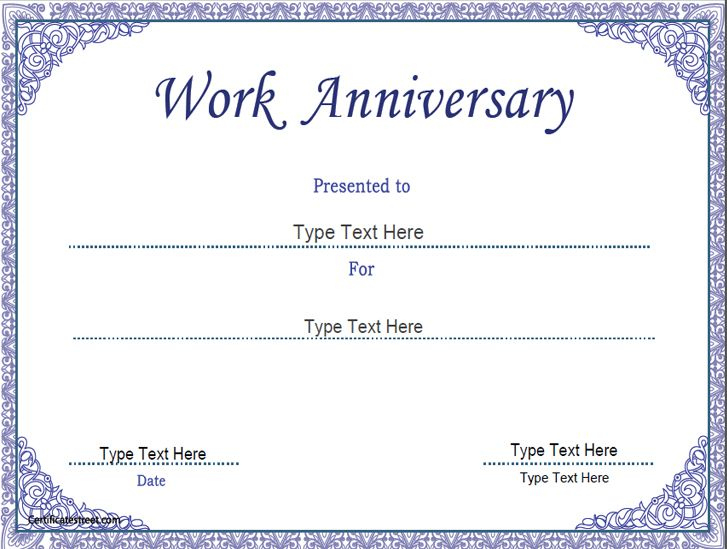 Business Certificate - Work Anniversary Certificate Template pertaining to Best Employee Anniversary Certificate Template