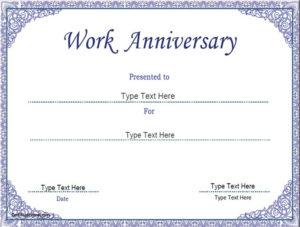 Business Certificate – Work Anniversary Certificate Template within Anniversary Certificate Template Free