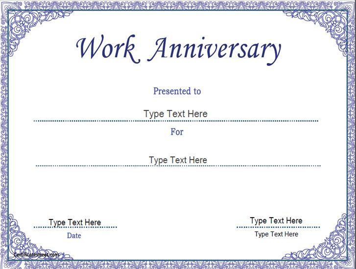 Business Certificate - Work Anniversary Certificate Template within Anniversary Certificate Template Free