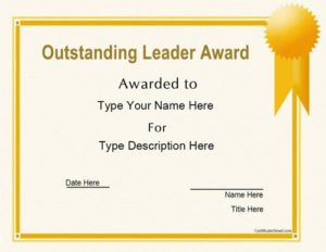 Business Certificates – Oustanding Leader Award throughout Outstanding Student Leadership Certificate Template Free