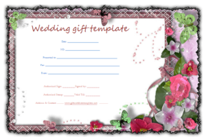 Butterfly-Gift-Certificate-Template | Gift Certificate with Free Editable Wedding Gift Certificate Template