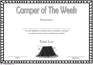 Camper Of The Week Certificate Template Free 1 with regard to Fresh Certificate For Summer Camp Free Templates 2020