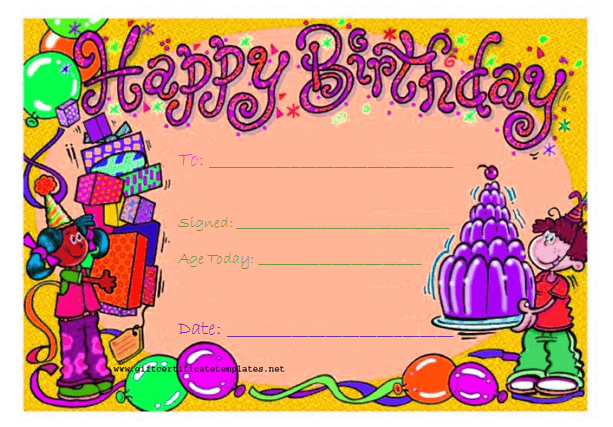 Candy Birthday Gift Certificate Template With Kids Gift intended for Kids Gift Certificate Template