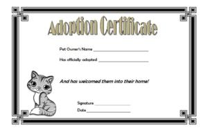 Cat Adoption Certificate Template Free 4   Adoption in Unique Cat Adoption Certificate Templates