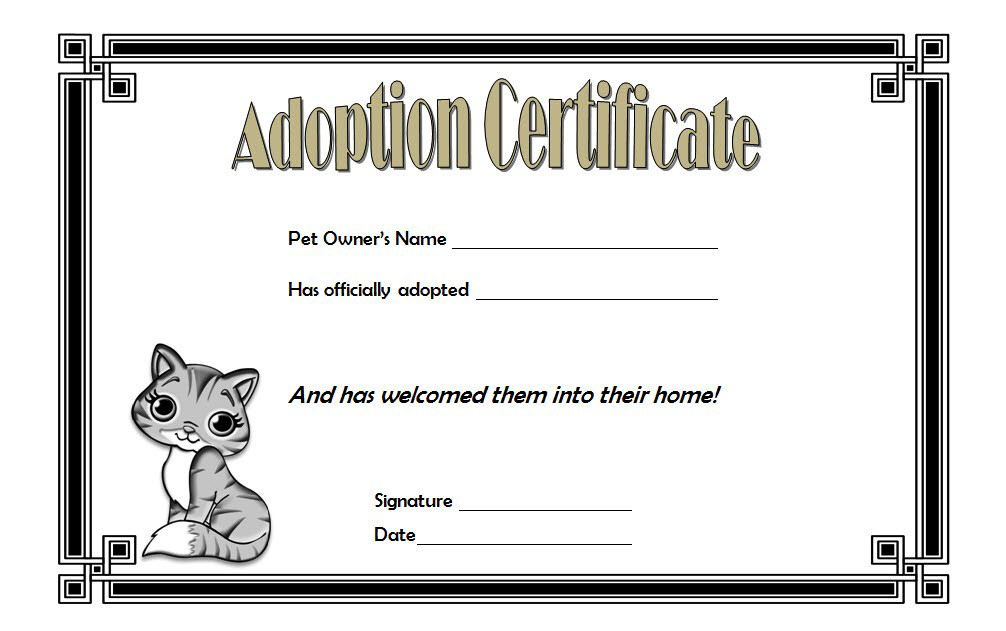 Cat Adoption Certificate Template Free 4 | Adoption within Quality Cat Birth Certificate Free Printable