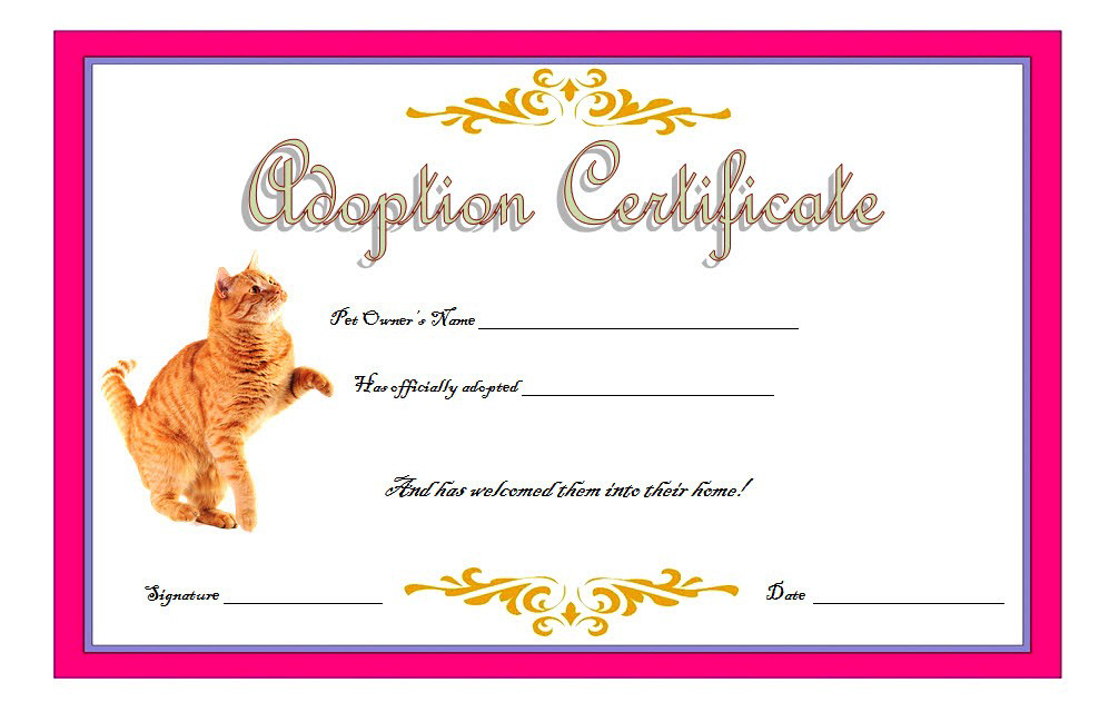 Cat Adoption Certificate Template Free 6 | Birth Certificate inside Quality Cat Adoption Certificate Template