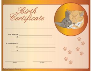 Cat Birth Certificate Printable Certificate   Birth For Quality Cat Birth Certificate Free Printable