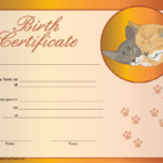 Cat Birth Certificate Printable Certificate   Birth for Unique Kitten Birth Certificate Template