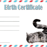 Cat Birth Certificate Template Free 2   Cat Birth, Birth With Regard To Unique Kitten Birth Certificate Template