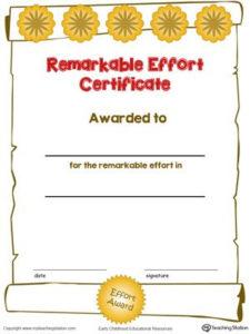 Certificate Awards: Remarkable Effort Certificate In Color with regard to Fresh Outstanding Effort Certificate Template
