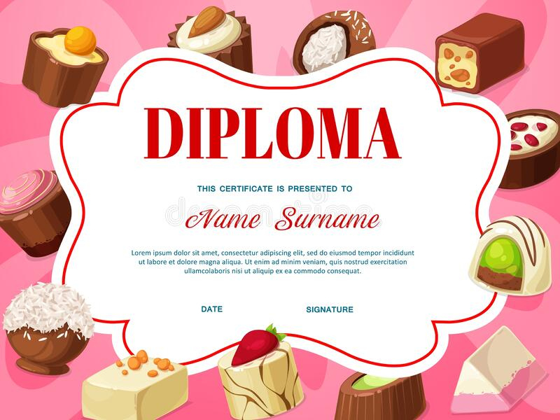 Certificate Chocolate Stock Illustrations – 484 Certificate inside Cupcake Certificate Template Free 7 Sweet Designs