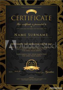 Certificate, Diploma (Golden Design Template, Colorful regarding Fresh Certificate Scroll Template