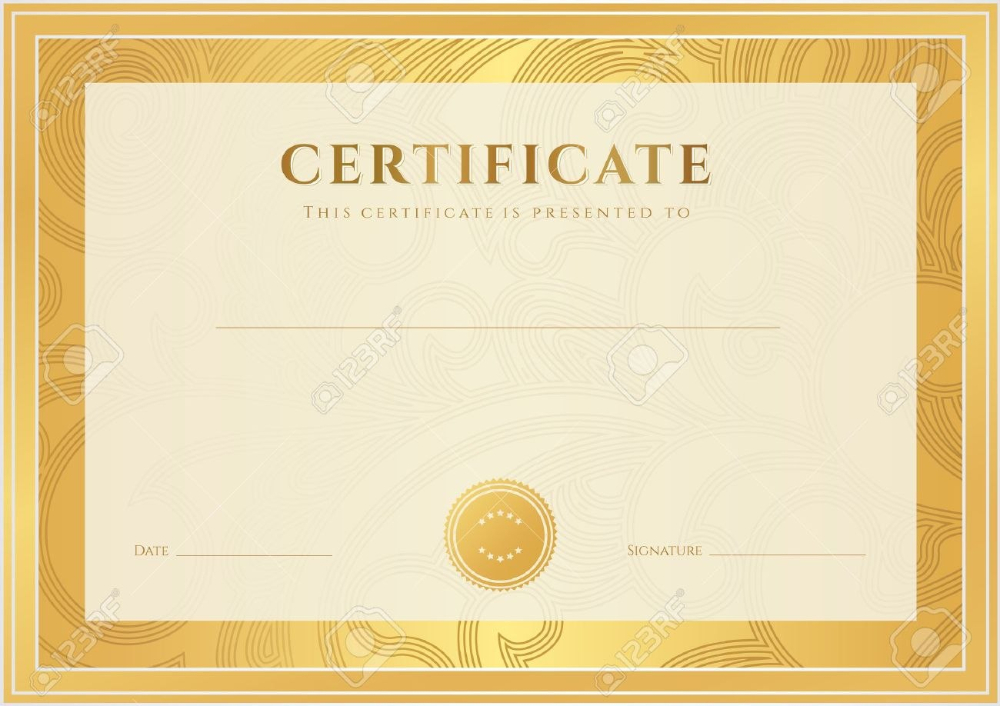 Certificate Diploma Of Completion Template Background Gold inside Scroll Certificate Templates