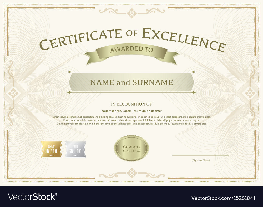 Certificate Excellence Template With Award Vector Image with regard to Best Award Of Excellence Certificate Template