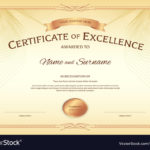 Certificate Excellence Template With Award Vector Image Within Best Award Of Excellence Certificate Template