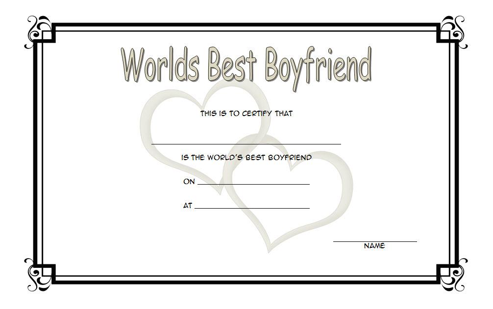 Certificate For Best Boyfriend Free Printable 1 | Best with Best Boyfriend Certificate Template
