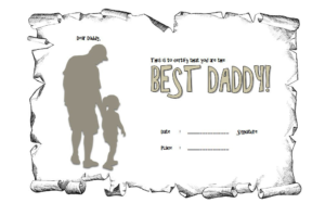 Certificate For Best Dad Free Printable 2 with Best Dad Certificate Template