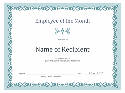 Certificate For Employee Of The Month (Blue Chain Design) for Unique Employee Of The Month Certificate Template Word