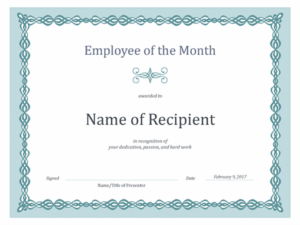 Certificate For Employee Of The Month (Blue Chain Design) regarding Employee Of The Month Certificate Template With Picture