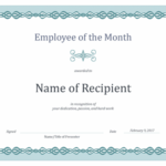 Certificate For Employee Of The Month (Blue Chain Design) With Regard To Certificate Of Employment Templates Free 9 Designs