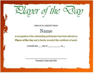 Certificate For Player Of The Day | Certificate Templates intended for Player Of The Day Certificate Template