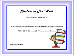 Certificate For Student Of The Week [10 Free Templates] regarding Best Outstanding Student Leadership Certificate Template Free