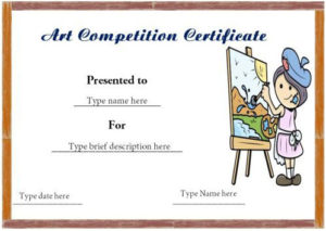 Certificate Format For Art Competition Winner | Certificate within Drawing Competition Certificate Templates