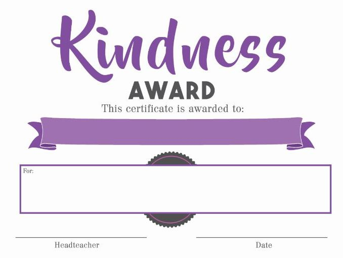 Certificate - Kindness Award intended for Kindness Certificate Template Free