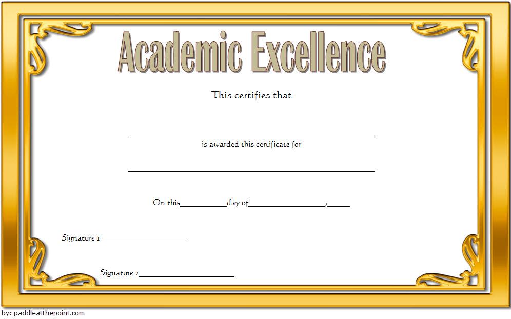 Certificate Of Academic Excellence Award Free Editable 2 regarding Editable Certificate Social Studies