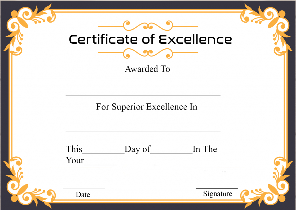 Certificate Of Academic Excellence   Certificate Template With Regard To Academic Excellence Certificate